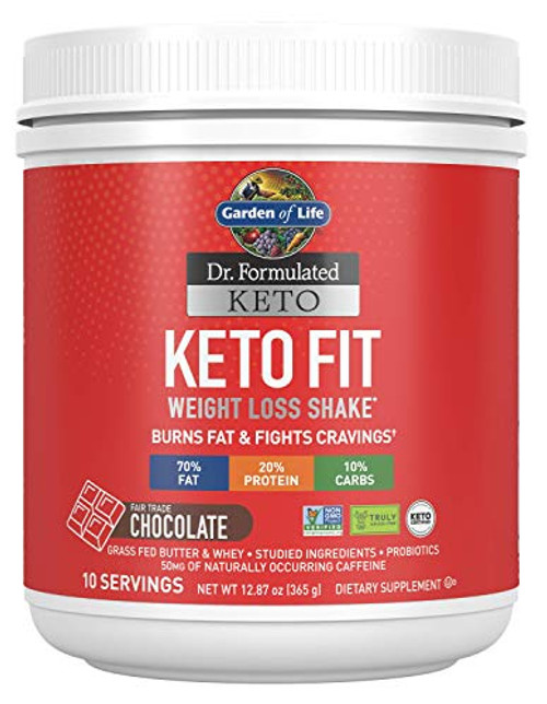 Garden of Life Dr. Formulated Keto Fit Weight Loss Shake - Chocolate Powder, 10 Servings, Truly Grass Fed Butter & Whey Protein, Studied Ingredients Plus Probiotics, Non-GMO, Gluten Free, Keto, Paleo-1610405433