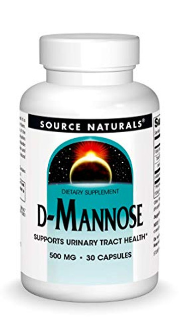 Source Naturals D-Mannose 500mg Potent Urinary Tract (UT) & Bladder Health Support - Fast-Acting, Cleansing, Detoxifying - Naturally Flush Impurities - 30 Capsules