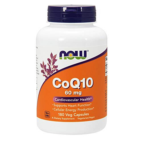 NOW Supplements, CoQ10 60 mg, Pharmaceutical Grade, All-Trans Form of CoQ10 Produced by Fermentation, 180 Veg Capsules