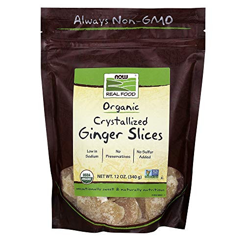 NOW Foods, Organic Crystallized Ginger Slices, Low-Sodium, Sulfur-Free, Preservative-Free and Non-GMO, 16-Ounce