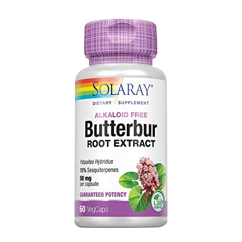 Solaray Butterbur Root Extract 50mg | Support for Healthy Vascular Smooth Muscle, Blood Flow, Respiratory Function & Urinary System Health | 60ct-1610406098