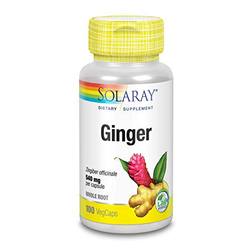 Solaray Organically Grown Ginger Root 540mg   Healthy Cardiovascular, Digestive, Joint & Menstrual Cycle Support   Vegan & Non-GMO   100 VegCaps