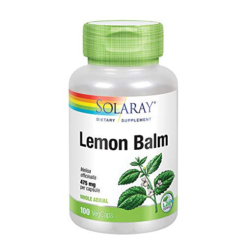 Solaray Lemon Balm Aerial 475mg   Healthy Mental Calm & Relaxation and Rest Support   Whole Aerial for Full Nutrient Profile   Non-GMO, Vegan   100 CT