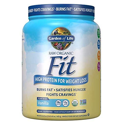 Garden of Life Raw Organic Fit Powder, Vanilla - High Protein for Weight Loss (28g) plus Fiber, Probiotics & Svetol, Organic & Non-GMO Vegan Nutritional Shake, 10 Servings