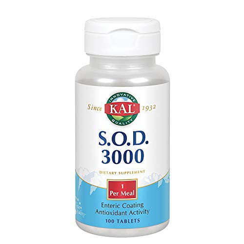 KAL S.O.D. 3000 | Superoxide Dismutase and Catalase | Antioxidant Activity | Enteric Coated for Maximum Assimilation | Lab Verified | 100 Tablets