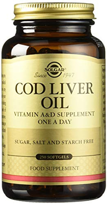 Solgar Cod Liver Oil, 250 Softgels - Supports Healthy Immune System, Healthy Eyes & Vision & Bone Health - Vitamin A & D Supplement - Non-GMO, Gluten Free, Dairy Free - 250 Servings