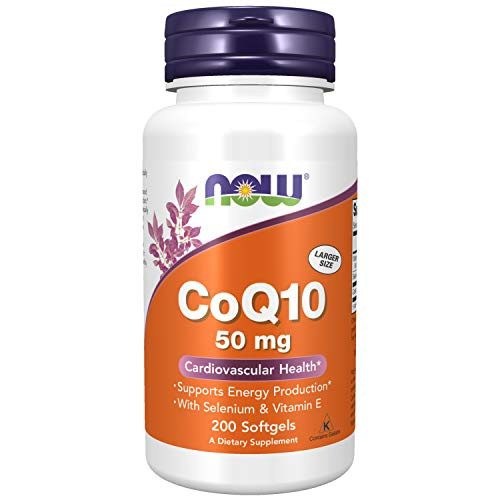 NOW Supplements, CoQ10 50 mg, Pharmaceutical Grade, All-Trans Form produced by Fermentation, 200 Softgels