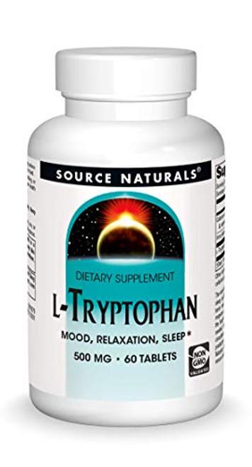 Source Naturals L-Tryptophan, 500 mg Serving, Essential Amino Acid Supplement - 60 Tablets