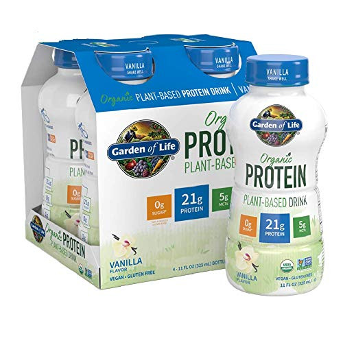 Garden of Life Organic Plant-Based Protein Shake - Vanilla, 16-Pack, Vegan Ready to Drink Protein Shakes, 21g Clean Complete Protein, 5g MCTs, 0g Sugar, 16-11 fl oz Non Dairy Plant Based Drinks