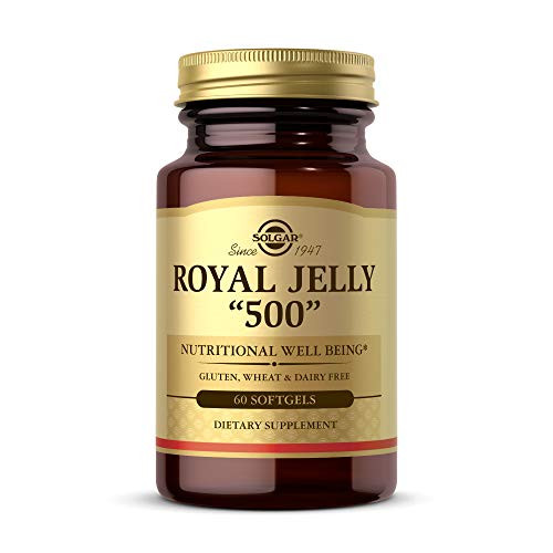 """Solgar Royal Jelly """"500"""", 60 Softgels - Nutritional Well Being - Natural Source of Vitamins, Minerals, Amino Acids, Proteins & Carbohydrates - Gluten Free, Dairy Free - 60 Servings"""