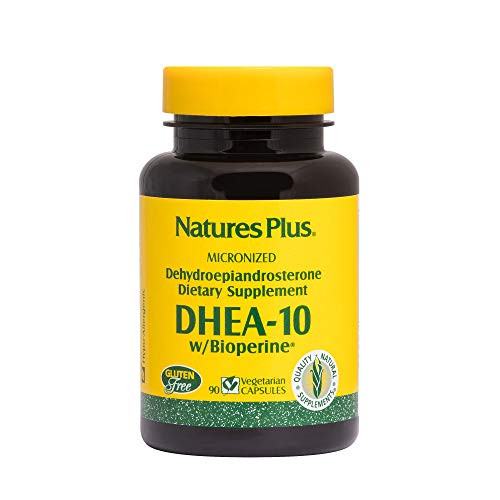 NaturesPlus DHEA 10 with Bioperine - 10 mg, 90 Vegetarian Capsules - Anti-Aging Hormone Support, Mood and Energy Booster, Anti-Inflammatory - Gluten-Free - 90 Servings