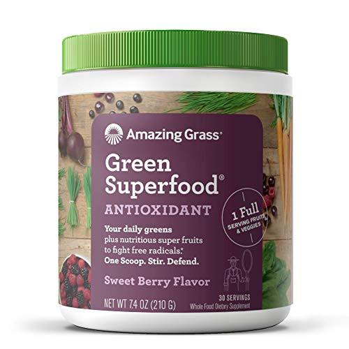 Amazing Grass Green Superfood Antioxidant: Super Greens Powder with Spirulina, Elderberry, Bilberry & Probiotics, Sweet Berry, 30 Servings