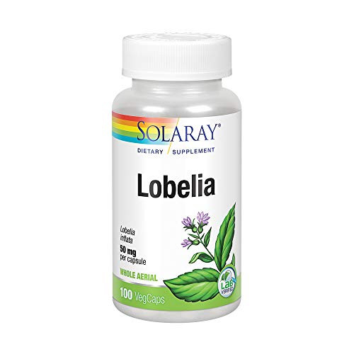 Solaray Lobelia Aerial 50mg | Healthy Respiratory and Bronchial Function Support | Ginger Root for Added Lung Support | Non-GMO & Vegan | 100 VegCaps-1610568864