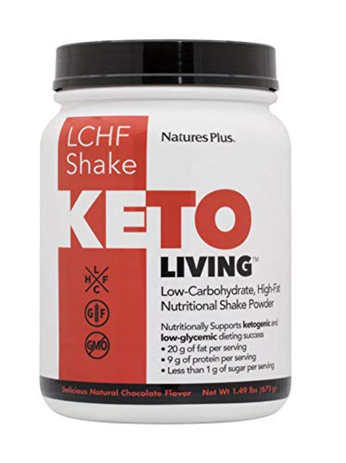KetoLiving LCHF Chocolate Shake Meal Replacement - 1.49 lb Drink Powder - Supports Ketosis, Cuts Cravings - Very Low Sugar, Low Carb High Fat, With MCTs & Probiotics - Gluten-Free - 15 Servings