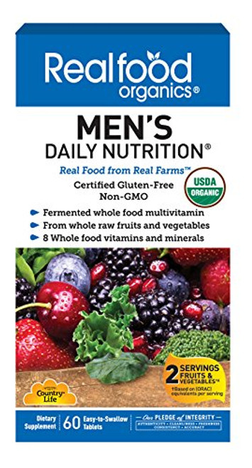 Country Life Realfood Organics - Men's Daily Nutrition Multivitamin - 60 Easy-to-Swallow Tablets