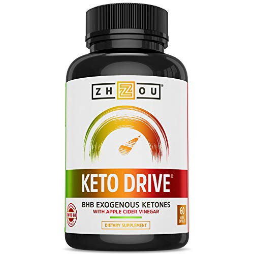 Zhou Keto Drive Capsules   Ketosis Supplement with BHB Exogenous Ketones   30 Servings, 60 Caps