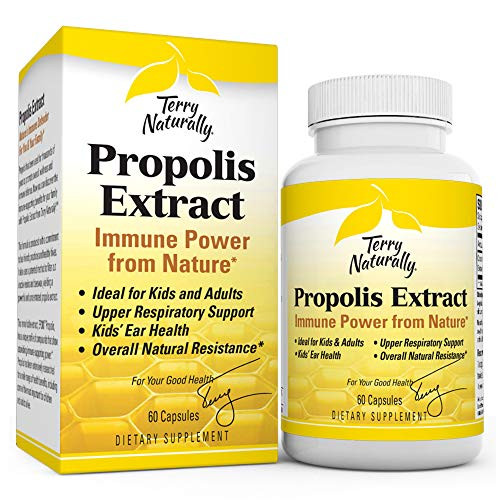 Terry Naturally Propolis Extract - 100 mg, 60 Capsules - Immune Support Supplement, Promotes Healthy Bacteria Balance, 100% Pure Propolis, No Beeswax - Non-GMO, Gluten-Free - 60 Servings