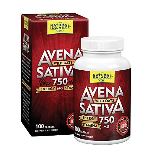 Natural Balance Avena Sativa Wild Oats 750 mg   Herbal Supplement for Healthy Energy, Stamina & Focus   Brain & Mood Support   Lab Verified   100 Tabs