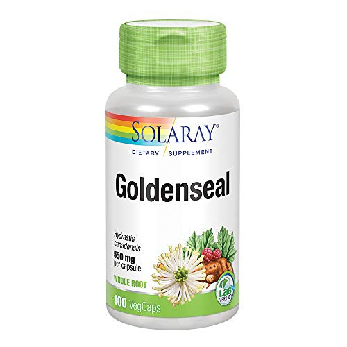 Solaray Goldenseal Root 550mg | Healthy Digestion, Immune Function & Respiratory Support | Whole Root | Non-GMO, Vegan & Lab Verified | 100 VegCaps-1610570726