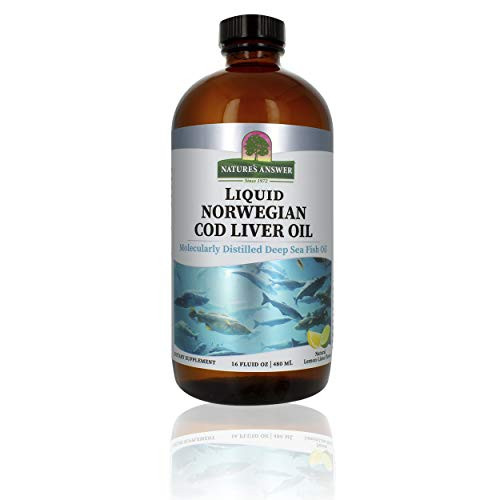 Nature's Answer Cod Liver Oil Liquid Supplement, 16-Fluid Ounces   Promotes a Healthy Heart & Brain   Cognitive and Cardiovascular Support   Great Tasting