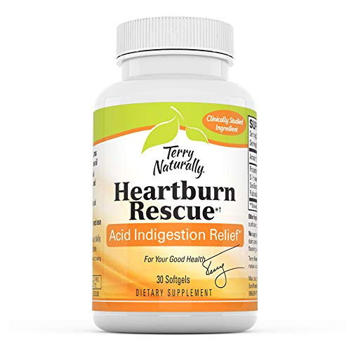 Terry Naturally Advanced Heartburn Rescue - 30 Softgels - Long-Lasting Heartburn Relief, Supports Digestive Function - Soy-Free, Dairy-Free, Gluten-Free - 30 Servings