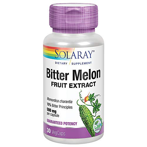 Solaray Bitter Melon Fruit Extract 500mg 10% Bitter Principles | Healthy Blood Sugar Support | Lab Verified | 30 VegCaps