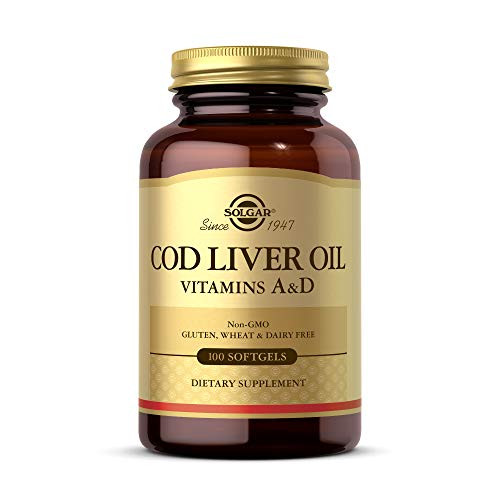 Solgar Cod Liver Oil, 100 Softgels - Supports Healthy Immune System, Healthy Eyes & Vision and Bone Health - Vitamin A & D Supplement - Non-GMO, Gluten Free, Dairy Free - 100 Servings