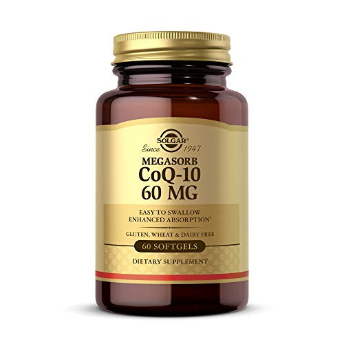 Solgar Megasorb CoQ-10 60 mg, 60 Softgels - Supports Heart & Brain Health - Coenzyme Q10 Supplement - Enhanced Absorption, Easy to Swallow - Gluten Free, Dairy Free - 60 Servings