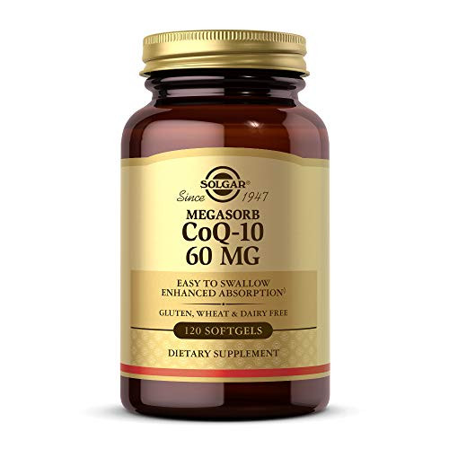 Solgar Megasorb CoQ-10 60 mg, 120 Softgels - Supports Heart & Brain Health - Coenzyme Q10 Supplement - Enhanced Absorption, Easy to Swallow - Gluten Free, Dairy Free - 120 Servings