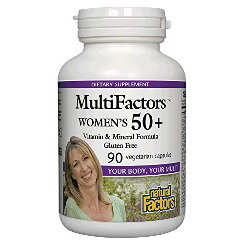MultiFactors by Natural Factors, Women's 50+ Multivitamin & Mineral Formula, Dietary Supplement for Nutritional Support, 90 capsules (30 servings)