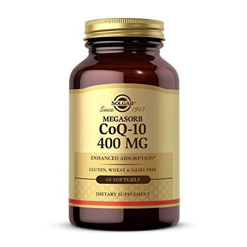 Solgar Megasorb CoQ-10 400 mg, 60 Softgels - Supports Heart & Brain Function - Coenzyme Q10 Supplement - Enhanced Absorption - Gluten Free, Dairy Free - 60 Servings