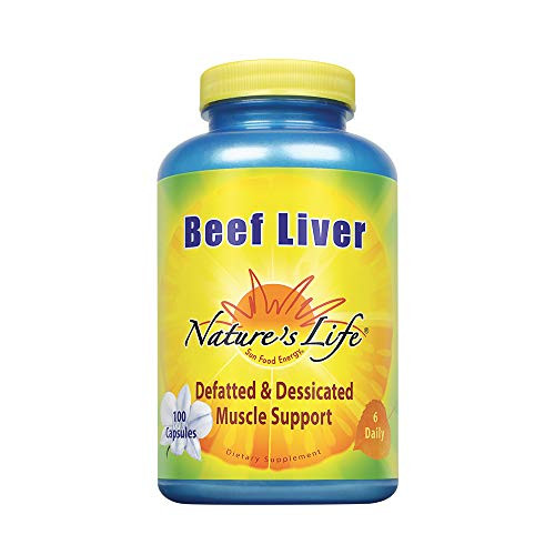 Nature's Life Desiccated Beef Liver 1500mg   From Defatted Argentine Cattle   Naturally Occurring Iron Supplement   100 Capsules