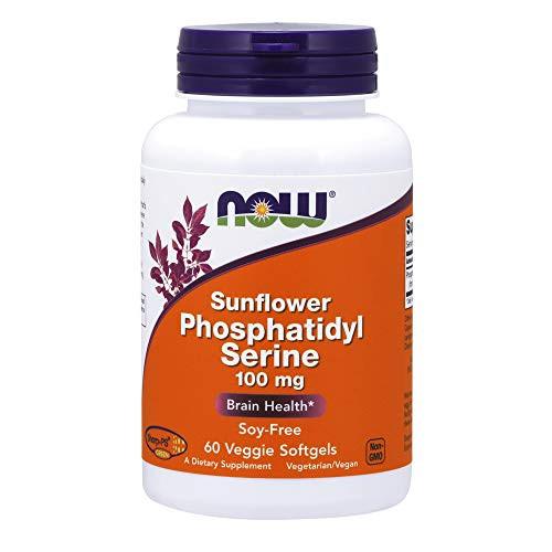 NOW Supplements, Sunflower Phosphatidyl Serine 100 mg, Derived from Non-GMO Sunflower Lecithin, 60 Veggie Softgels
