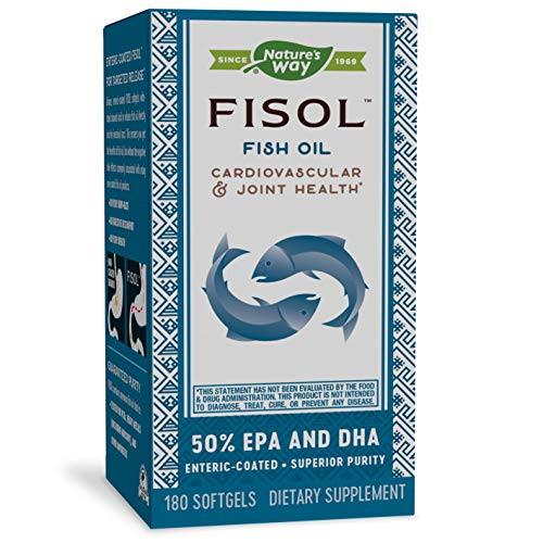 Nature's Way Fisol 50% EPA and DHA Enteric-Coated Fish Oil, No Fishy Burp-Back, 180 Softgels