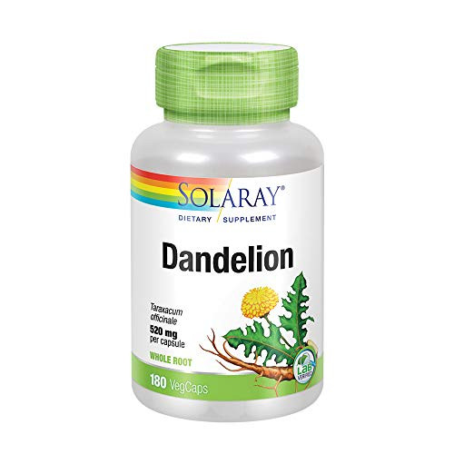 Solaray Dandelion Root 520mg   Healthy Liver, Kidney, Digestion & Water Balance Support   Whole Root   Non-GMO, Vegan & Lab Verified   180 VegCaps-1610573257
