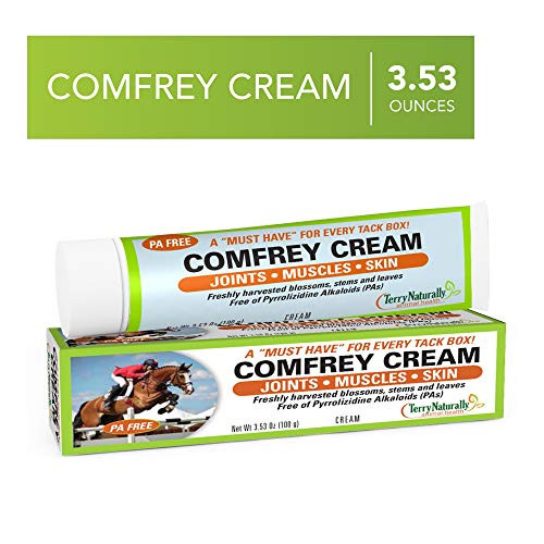 Terry Naturally Animal Health Comfrey Cream - 3.53 oz (100 g) - Topical Botanical for Horses and Dogs - Support for Joints, Muscles & Skin - External Application