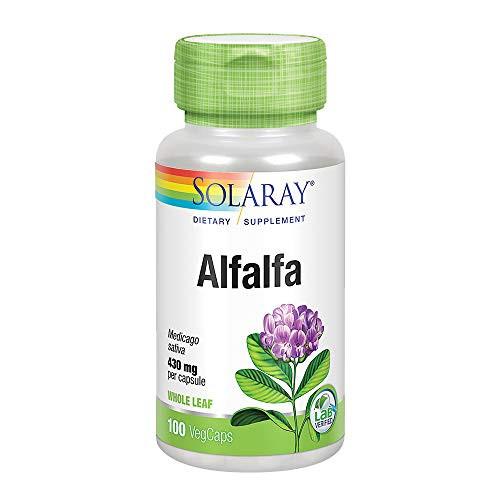 Solaray Alfalfa Leaf 430mg   Vitamin-Rich Superfood w/Fiber & Chlorophyll   Healthy Blood, Kidneys & Digestion Support   Non-GMO, Vegan   100 VegCaps