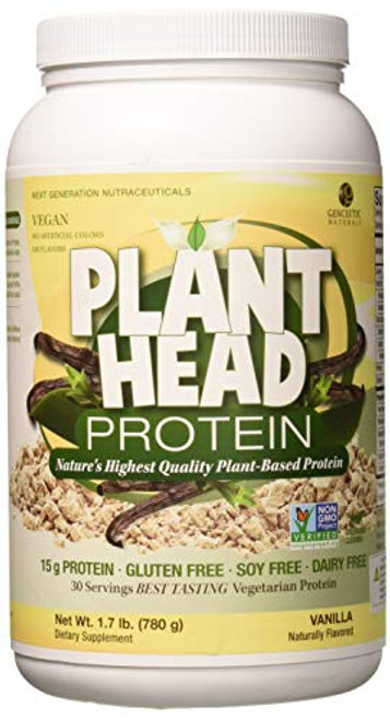 Genceutic Natural's Plant Head Real Meal Dietary Supplement | Supports a Healthy Lifestyle | Vegan, Gluten-Free, & Lactose-Free | Vanilla 1.7bs