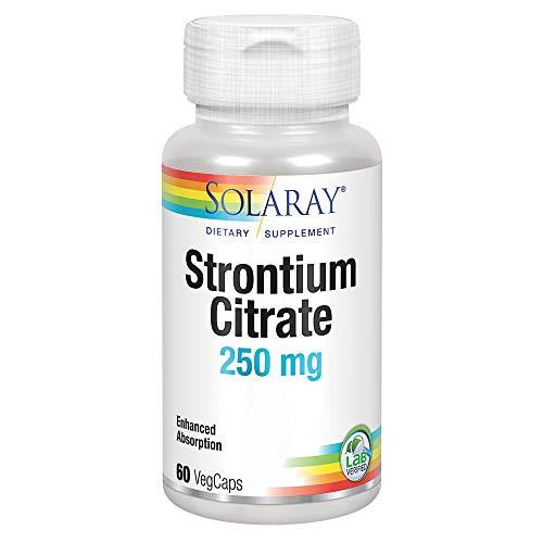 Solaray Strontium Citrate 250 mg | Healthy Bones & Teeth Support | Gentle Digestion, Enhanced Absorption | 60 VegCaps