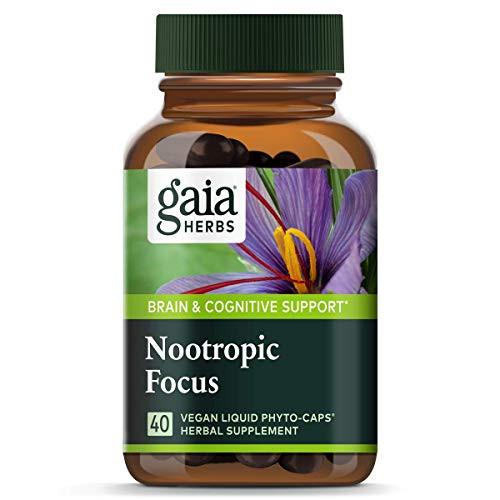 Gaia Herbs, Nootropic Focus, Brain & Cognitive Support, Saffron, Lemon Balm, Spearmint, Vegan Liquid Capsules, 40Count