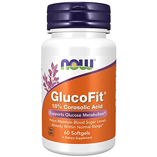 NOW Supplements, GlucoFit® with 18% Corosolic Acid, Supports Glucose Metabolism*, 60 Softgels