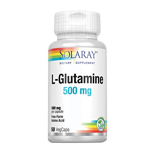 Solaray L-Glutamine 500mg | Healthy Muscle Recovery, Gastrointestinal & Immune System Support | Non-GMO | Vegan | Lab Verified | 50 VegCaps