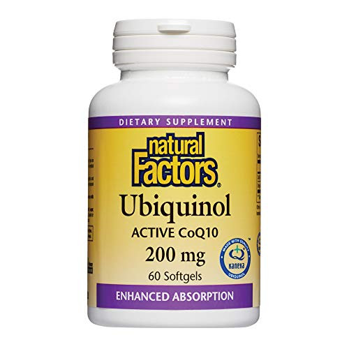 Natural Factors, Ubiquinol Active CoQ10 200mg, Coenzyme Q10 Supplement for Energy, Heart and Cognitive Support, Gluten Free, 60 softgels (60 servings)
