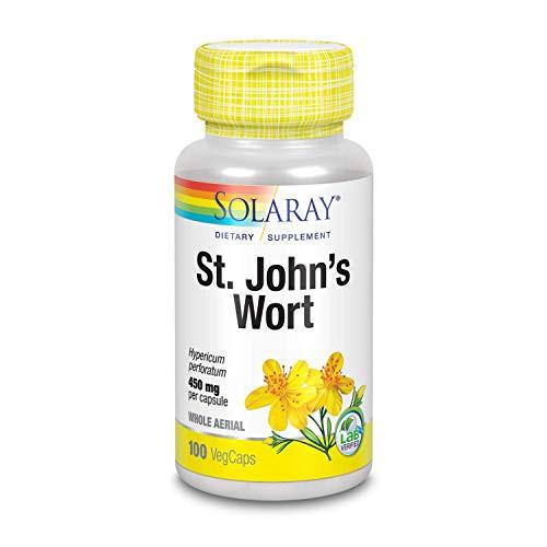 Solaray Organically Grown St. John's Wort Aerial 450mg | Herbal Support for Mood, Brain Health & Healthy Sleep | 100% Vegan, Non-GMO | 100ct-1610575348