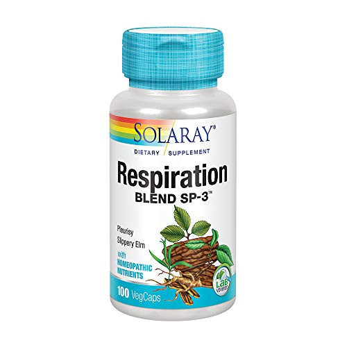 Solaray Respiration Blend SP-3 | Herbal Blend w/Cell Salt Nutrients to Help Support Healthy Respiration | Non-GMO, Vegan | 50 Servings | 100 VegCaps