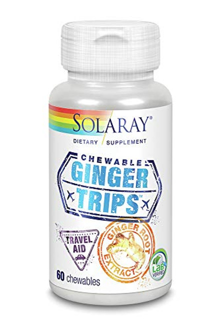 Solaray Ginger Trips Chewable Wafers, 67mg, 60 Count-1610691285