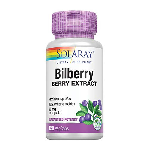Solaray Bilberry Berry Extract | 60 mg Per Capsule, Powerful Antioxidant, Guaranteed Potency | for Healthy Vision & Circulation Support | 120 VegCaps-1610691451