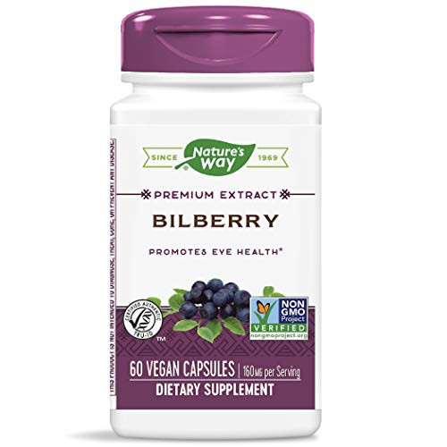 Nature's Way Bilberry Extract 36% Anthocyanins 160 mg Potency, 60 Capsules