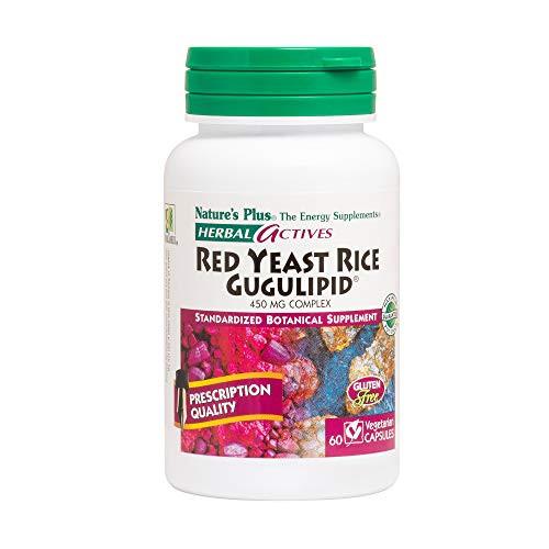 NaturesPlus Red Yeast Rice Gugulipid Complex - 450 mg, 60 Vegan Capsules - Prescription Quality Herbal Supplement, Cholesterol Support - Vegetarian, Gluten-Free - 60 Servings