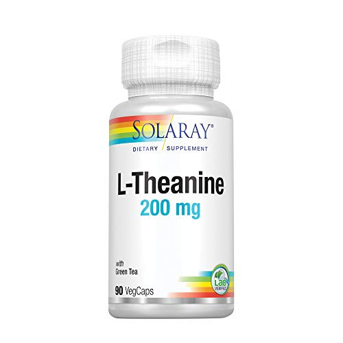 Solaray L-Theanine 200mg w/Green Tea Leaf 100mg | Relaxation, Stress, Mood & Focus Support w/Out Drowsiness | Lab Verified | 90 VegCaps-1610691857